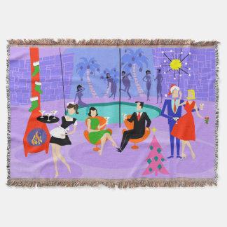 Retro Tropical Christmas Party Throw Blanket