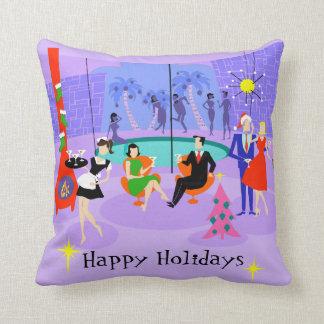 Retro Tropical Christmas Party Throw Pillow