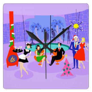 Retro Tropical Christmas Party Wall Clock