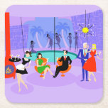 """Retro Tropical Cocktail Party Paper Coaster<br><div class=""""desc"""">This Retro Tropical Cocktail Party Paper Coaster is intoxicating in its detail. The cartoon design features the type of wildly sophisticated cocktail party that is normally only seen in movies from the 1960s. There is a mid century modern living room filled with partygoers enjoying the swanky, purple decor. A lovely...</div>"""