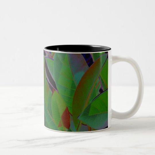Retro Tropical Fabric Two-Tone Coffee Mug