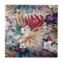 Retro Tropical Flower Pattern Ceramic Tile