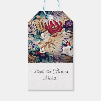 Retro Tropical Flower Pattern Gift Tags
