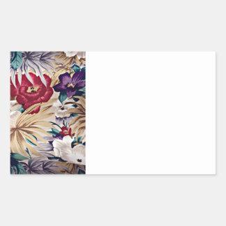 Retro Tropical Flower Pattern Rectangular Sticker