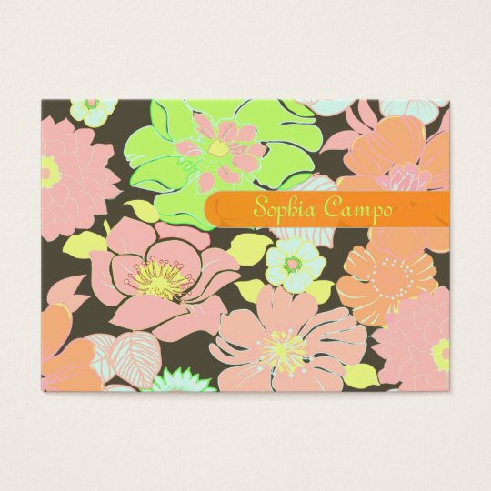 Retro tropical flowers colorful businesscards business card