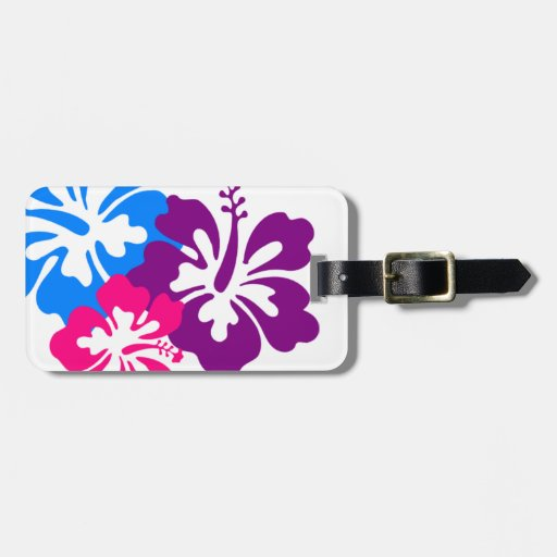 Retro Tropical Flowers Pink Blue & Purple Luggage Tag