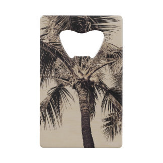 Retro Tropical Island Palm Tree Black and White Credit Card Bottle Opener