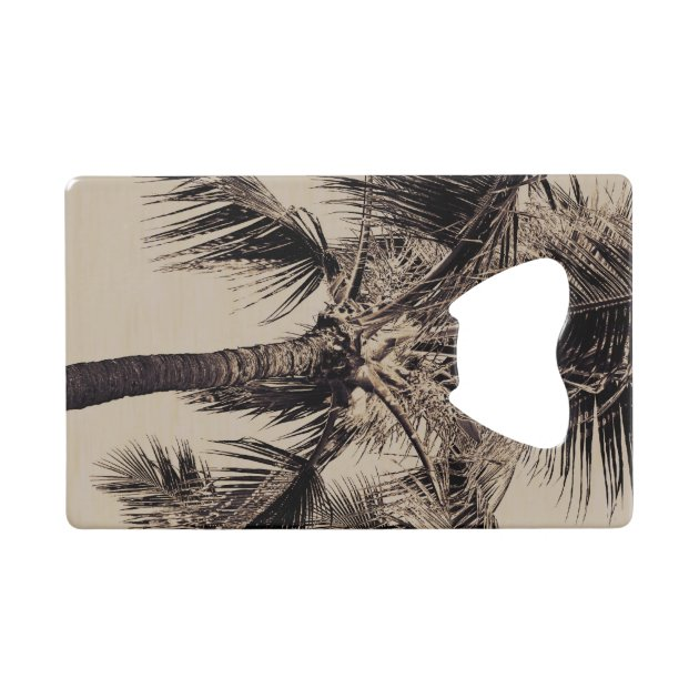 Retro Tropical Island Palm Tree Black And White Credit