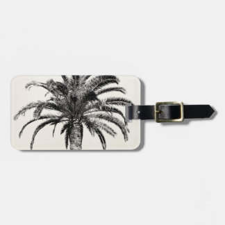 Retro Tropical Island Palm Tree in Black and White Bag Tag