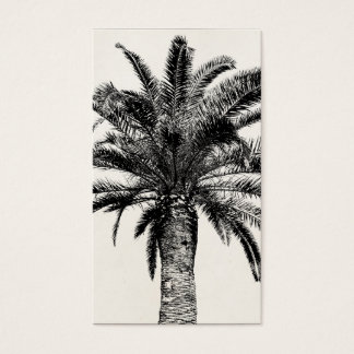 Retro Tropical Island Palm Tree in Black and White Business Card