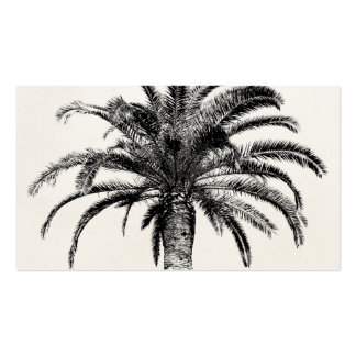 Retro Tropical Island Palm Tree in Black and White Double-Sided Standard Business Cards (Pack Of 100)