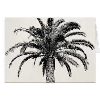 Retro Tropical Island Palm Tree in Black and White Greeting Card