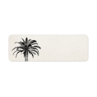 Retro Tropical Island Palm Tree in Black and White Label