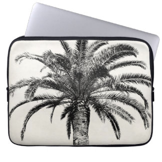Retro Tropical Island Palm Tree in Black and White Laptop Computer Sleeves