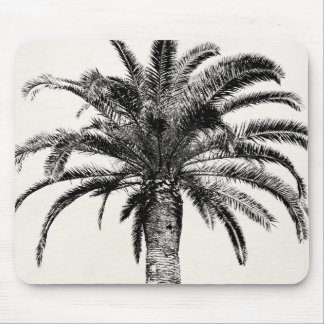 Retro Tropical Island Palm Tree in Black and White Mousepads