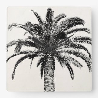 Retro Tropical Island Palm Tree in Black and White Square Wall Clock