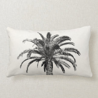 Retro Tropical Island Palm Tree in Black and White Throw Pillow