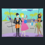 """Retro Tropical Vacation Cloth Placemat<br><div class=""""desc"""">This Retro Tropical Vacation Cloth Placemat features a minimalist cartoon drawing of an attractive couple taking the trip of a lifetime! The mid century modern scene is set in a tropical airport. Mr. and Mrs. Tourist are posing in front of the floor to ceiling glass walls. After all, they want...</div>"""