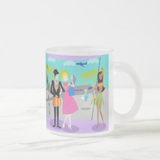 Retro Tropical Vacation Frosted Glass Mug