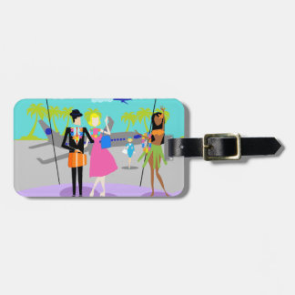 Retro Tropical Vacation Luggage Tag