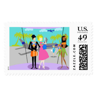 Retro Tropical Vacation Postage Stamps