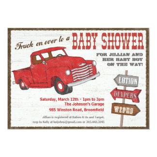 """Retro Truck Baby Shower Invitation 5"""" X 7"""" Invitation Card"""