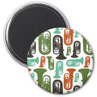 Retro Tuba Patttern 2 Inch Round Magnet