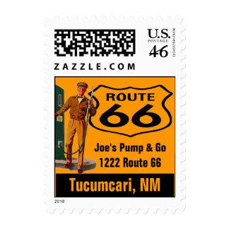 Retro Tucumcari NM New Travel Gas Route 66 Vintage Postage Stamp