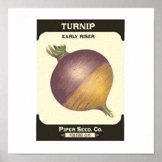 Retro Turnip Vegetable Seed Packet Poster Print