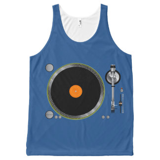 Retro Turntable Vinyl Recorder / any color / All-Over-Print Tank Top