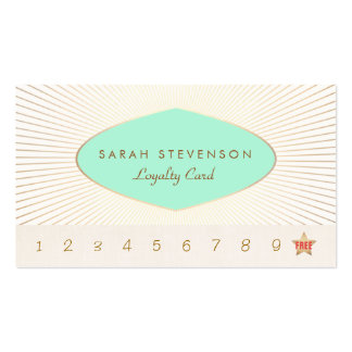 Retro Turquoise and Gold Loyalty Punch Card Double-Sided Standard Business Cards (Pack Of 100)