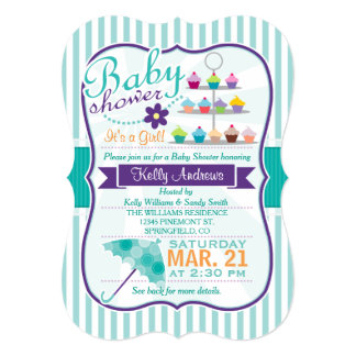 Retro Turquoise and Purple Baby Shower 5x7 Paper Invitation Card