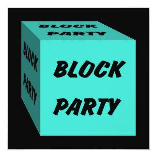 """Retro Turquoise Block Party Social Invitation 5.25"""" Square Invitation Card"""