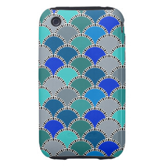 Retro Turquoise Blue Teal Gray Scales iPhone 3 Tough Case