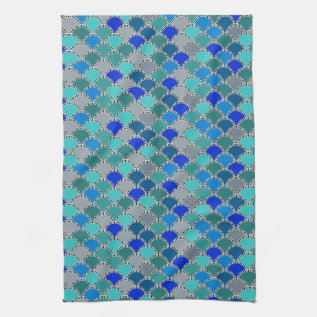 Retro Turquoise Blue Teal Gray Scales Pattern Hand Towel at Zazzle