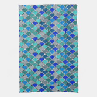Retro Turquoise Blue Teal Gray Scales Pattern Hand Towel