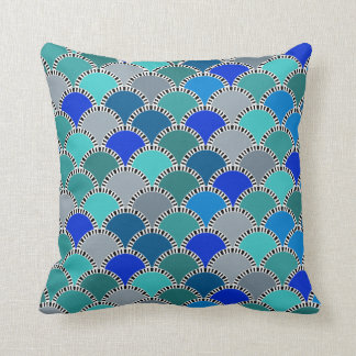Retro Turquoise Blue Teal Gray Scales Pattern Throw Pillow
