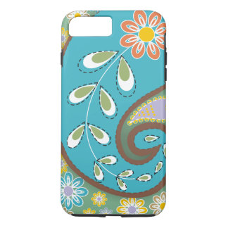 Retro turquoise, brown paisley motif custom iPhone 7 plus case