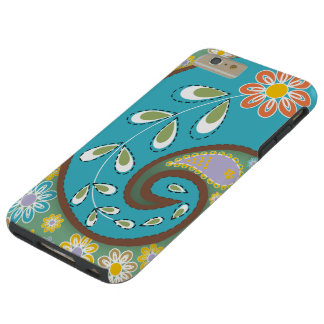 Retro turquoise, brown paisley motif custom tough iPhone 6 plus case