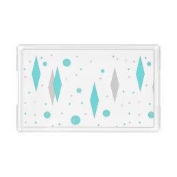 Retro Turquoise Diamond & Starburst Acrylic Tray