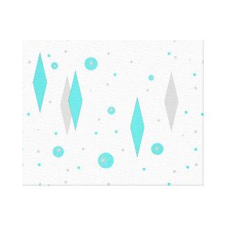 Retro Turquoise Diamond & Starburst Canvas