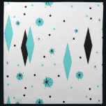 "Retro Turquoise Diamond &amp; Starburst Cloth Napkins<br><div class=""desc"">These Retro Turquoise Diamonds and Starbursts Cloth Napkins are a new take on a vintage style. It features kitschy, black starbursts on turquoise polka dots, surrounding geometric, turquoise and black diamond shapes. Customize the background color on this mid century modern product if you&#39;re feeling daring, or leave it white if...</div>"