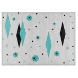 Retro Turquoise Diamond & Starburst Cutting Board