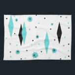 "Retro Turquoise Diamond &amp; Starburst Kitchen Towel<br><div class=""desc"">This Retro Turquoise Diamonds and Starbursts Kitchen Towel is a new take on a vintage style. It features kitschy, black starbursts on turquoise polka dots, surrounding geometric, turquoise and black diamond shapes. Customize the background color on this mid century modern product if you&#39;re feeling daring, or leave it white if...</div>"