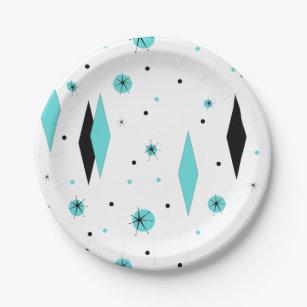 Retro Turquoise Diamond u0026 Starburst Paper Plates  sc 1 st  Zazzle & 1950s Plates   Zazzle
