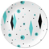 Retro Turquoise Diamond Starburst Porcelain Plate