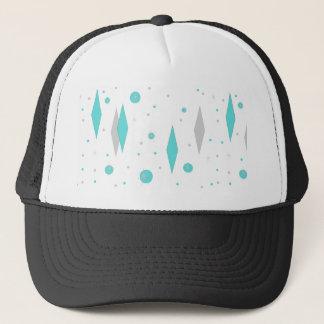Retro Turquoise Diamond & Starburst Trucker Hat