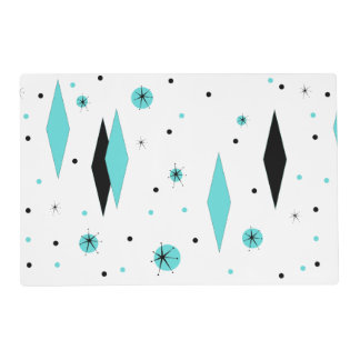 Retro Turquoise Diamonds Laminated Placemat