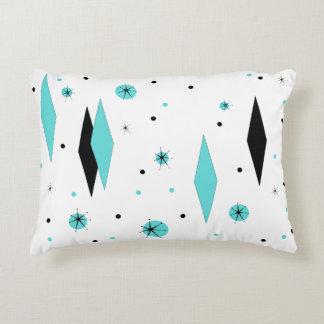 Retro Turquoise Diamonds & Starburst Accent Pillow