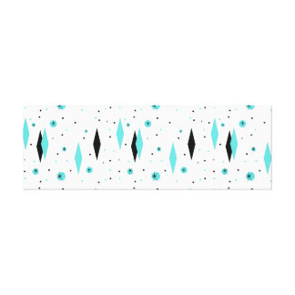 Retro Turquoise Diamonds & Starburst Canvas Print